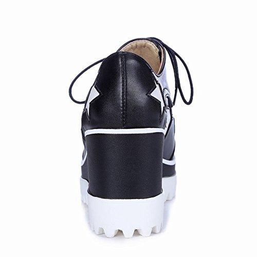 Latasa Kvinna Mode Stjärnan Spets-up Plattform Kil Oxford Skor Svarta