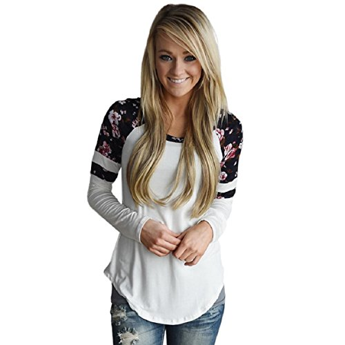 OverDose MoKingTop Damen Floral Splice Printing Langarm Rundhals Pullover Bluse Tops T-Shirt (S, Weiß)