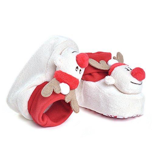 Estamico bebé niñas ciervo Navidad zapatos blanco blanco Talla:6-12 meses
