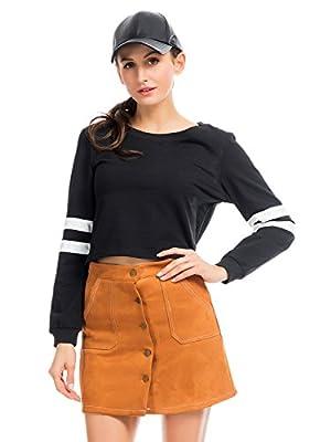 PERSUN Women's Casual Striped Long Sleeve Crop Top Jersey Sweatshirt