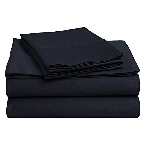 Superior 100% Premium Combed Cotton, Deep-Fitting Pocket Soft and Smooth 4 Piece Sheet and Pillowcase Cover Set, King - Navy Blue from Superior