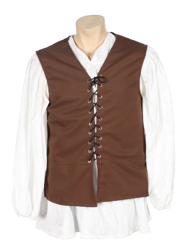 Alexanders Costumes Male Renaissance Vest, Brown, Medium - Pirate Vest Male