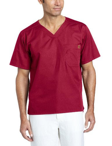 - Carhartt Ripstop Men's Utility Scrub Top, Wine, Large