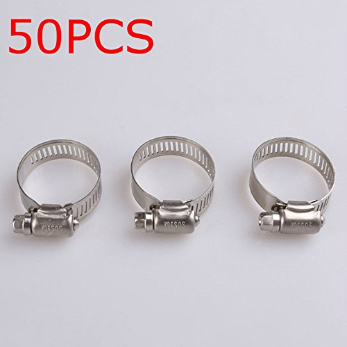 New 50Pcs Adjustable Stainless Steel Drive Hose Clamps Fuel Line Worm Clip