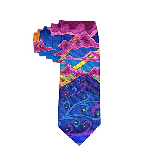(Men Date Gifts Novelty Polyester Textile Necktie Silkly Smooth Soft Psychedelic Trippy Pattern Neck Ties Great For Weddings Party Groom Groomsmen Dances)