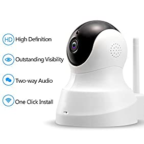 Tenvis HD IP Camera - 720P Wireless IP Camera with Two-way Audio, Night Vision Camera, Smart Camera for Pet Baby Monitor, Home Security Camera Motion Detection Indoor Camera with Micro SD Card Slot
