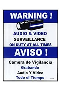 """Vigilancia señal de advertencia–vídeo y audio, 9""""x7"""" azul–Inglés y Español, 1pc"""