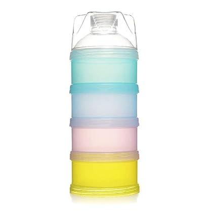 Wuudi- Caja de polvo de leche portátil para bebé, multicapa, con polvo de