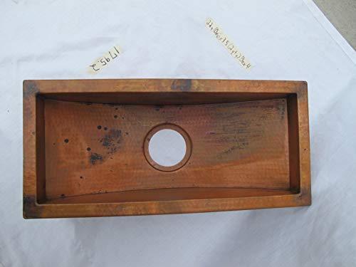 Copper bar prep sink trough 22x10x6, flat lip 1
