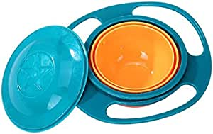 Baby Bowls Children bowl 360 degree rotating balance bowl, gyroscope bowl, flying bowl bowl Perfect for Feeding Kids and Toddlers Blue