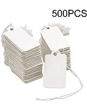 500 piezas Etiquetas de Papel de Regalo Blanco, Etiquetas de Precio de Joyas con hilo, Etiqueta Rectangular 2.5 x 4.5 cm