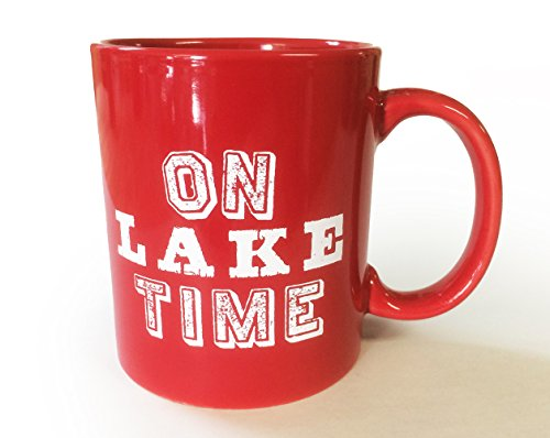 Lake House Coffee Mug- On Lake Time - Red- 11 (Lake Coffee Mug)