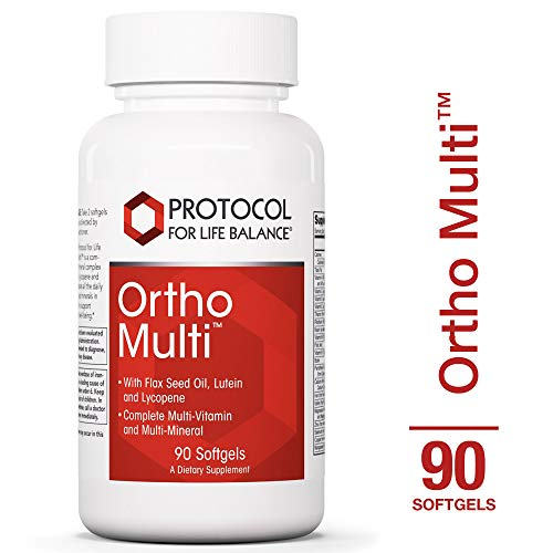 Protocol For Life Balance - Ortho Multi™ - Complete Multivitamin & Multi-Mineral - Complete Nutrition Fortified with Naturally Organic Flax Seed Oil, Lutein & Lycopene - 90 Softgels