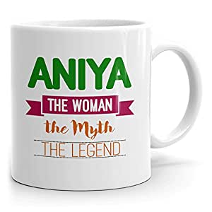 Personalized Womens Gift! Aniya The Woman the Myth the Legend - Coffee Mug Cup for Mom Girlfriend Wife Grandma Sister - Great in the Morning or the Office - Green