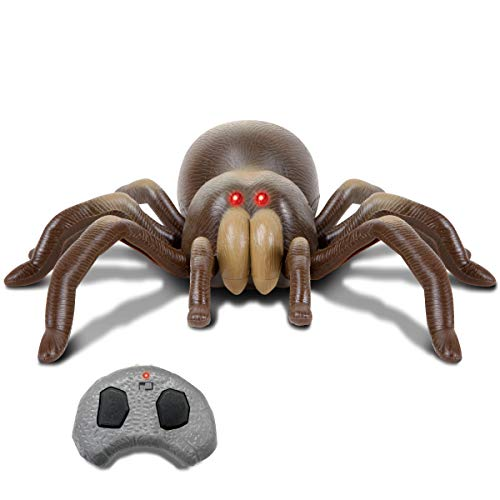 DISCOVERY KIDS RC Moving Tarantula Spider, Wireless Remote Control Toy for Kids, Great for Pranks and Halloween Decorations, Realistic Scurrying Movement, Glowing Scary Red LED Eyes -