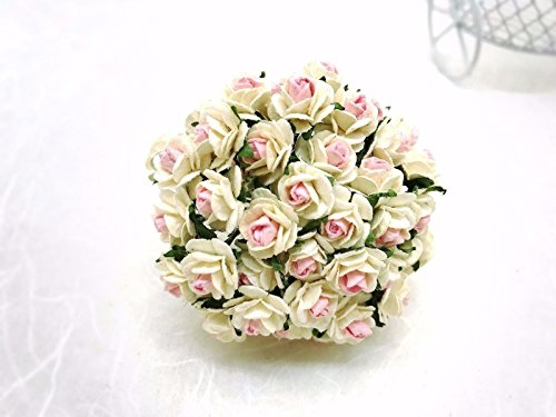 100 PCS white and pink MINI Rose Mulberry Paper Flower Craft Handmade Wedding 10 mm Scrapbook