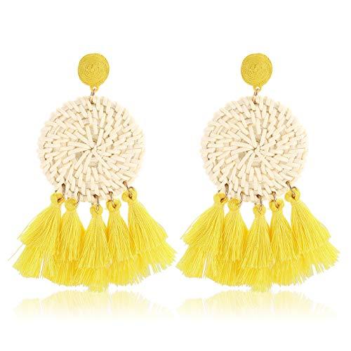 Rattan Earrings For Women Girls Bohemian Lightweight Layered Tassel Earrings Handmade Weaving Wicker Straw Texture Stud Drop Dangle Earrings (Yellow) - Geometric Yellow Earrings