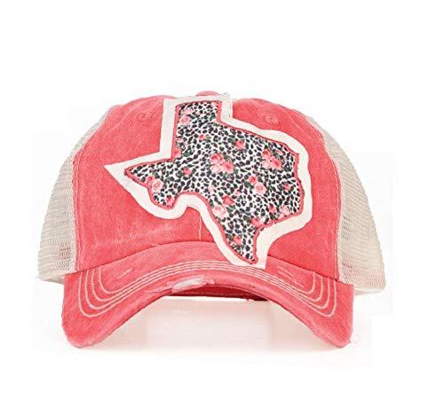 Southern Junkie High Ponytail Bun Trucker Mesh Vented Baseball Hat Cap (Cheetah Leopard Rose Pink Texas) ()
