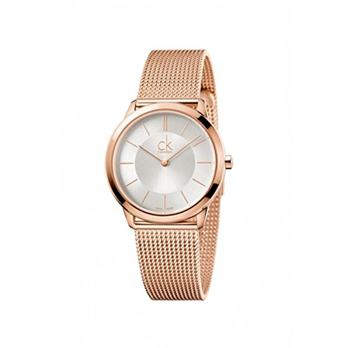 Calvin Klein K3M22626 Ladies Minimal Rose Gold Plated Mesh Bracelet Watch by Calvin Klein
