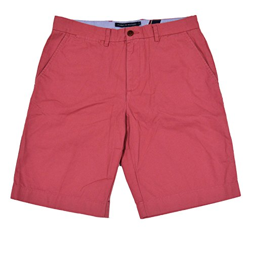 Tommy Hilfiger Men's Academy Flat Front Chino Short (Cape Cod Red, 34)