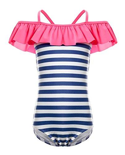Stripe Short Fine (iDrawl One Piece Swimsuit, Girls Beach Wear Stripes Ruffle Swimwear)