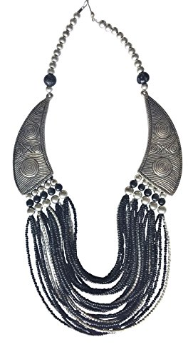 BellaMira Bohemian 'Princess' Statement Necklace Artisan Crafted Silver Plated Brass Ethically Sourced From India - Vintage Tribal Gypsy Handmade Festive Jewellery in Retail Gift Box by BellaMira