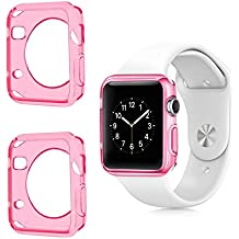 Apple Watch Color TPU W/ Built in Corner & Edge Protection SERIES 1, 2 & 3 LTE / GPS Bumper Smooth Slim Skin [iWatch Gel Cover] Protective Case Shockproof Clear Protection Accessories (2x Pink, 42mm)