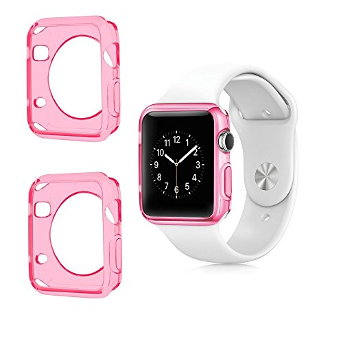 Apple Watch Color TPU W/ Built in Corner & Edge Protection SERIES 1, 2 & 3 LTE / GPS Bumper Smooth Slim Skin [iWatch Gel Cover] Protective Case Shockproof Clear Protection Accessories (2x Pink, (Pink Shimmering Stars)