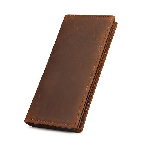 Kattee Men's Vintage Genuine Leather Long Wallet for Checkbook, Credit Cards (Large, Brown)