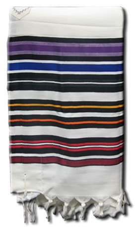 100% Wool Multi Rainbow Colors Striped Bnei Or Tallit and Tallit Bag Set 24