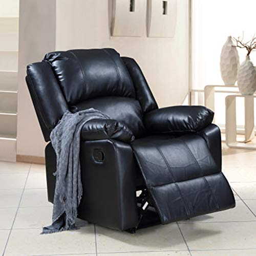 Single Recliner Sofa Lounge Chair 350 LB Heavy Duty,JULYFOX Faux Leather Office Lounge Chair Steel Metal Frame Bonded Home Theater Sofa Chair W/Footrest High Back Lumbar Support Ergonomic Black ()
