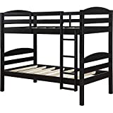 Mainstays` Twin Over Twin Wood Bunk Bed (Twin, Black)