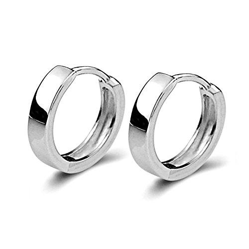 Shoopic+Unisex+Silver+Small+Hoop+Earrings+Circle+Ear+Huggie+Earrings