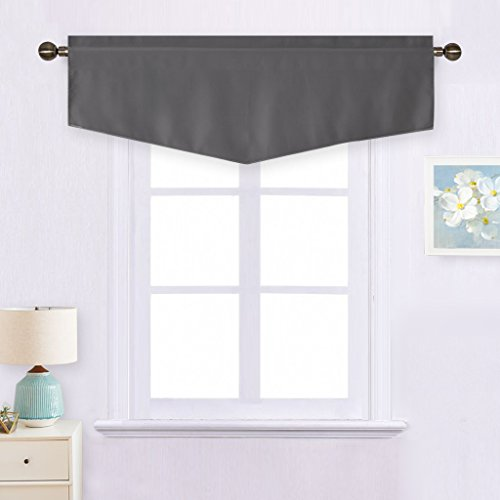NICETOWN Bedroom Blackout Window Valance - 52-inch by 18-inch Ascot Rod Pocket Curtain Short Drape for Basement (Grey,1 Panel)