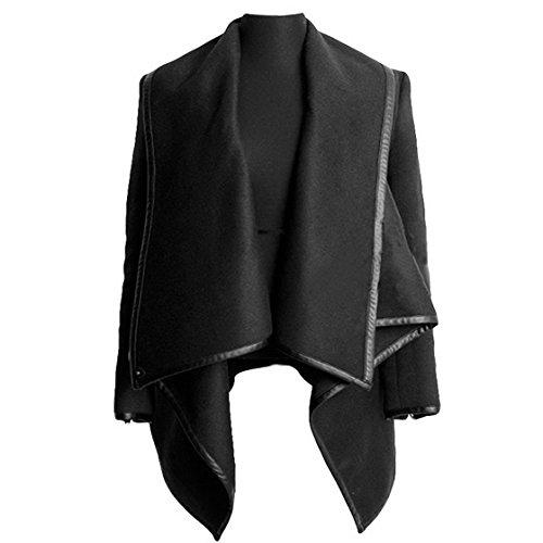 Women's Slim Fit Trench Coat Faux leather Jacket Coat Outerwear L - Black (Jacke Damen)