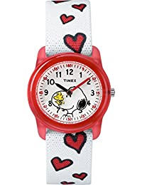 Timex Kid's Casual x Peanuts – Snoopy & Hearts TW2R416002Y White Dial and White Elastic Fabric Band Watch
