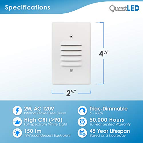 LED 2W Step Light Bronze Finish (24 Pack) Interchangeable Plate Flat Frosted (Horizontal Louver/Vertical Louver) 10 YR Warranty; Waterproof; Dimmable; 120V; 150 Lumnes (Soft White 2700K) by Quest LED (Image #4)