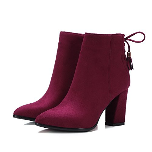 Women's Low High Closed Solid Pointed Heels Knot Claret Boots Toe Top with AgooLar Xnwd1X