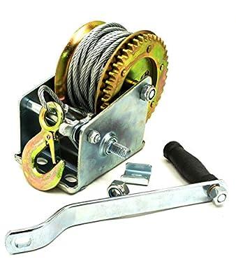 KCHEX>2500lb 32' Hand Crank Cable Winch Dual Gear ATV Boat Trailer Manual Heavy Duty>Hand Crank Winch 2500 lbs Cable Gear Winch ATV Boat Trailer Heavy Duty Hand Crank Cable Winch with 32 Braided