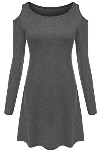 ZEARO Damen Langarm Kleid Minikleid Abendkleid Partykleid ...