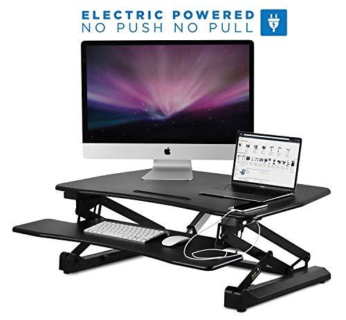 Mount-It! Electric Standing Desk Converter | Motorized Sit Stand Desk With Built In USB Port | Ergonomic Height Adjustable Workstation | Black (MI-7927E)