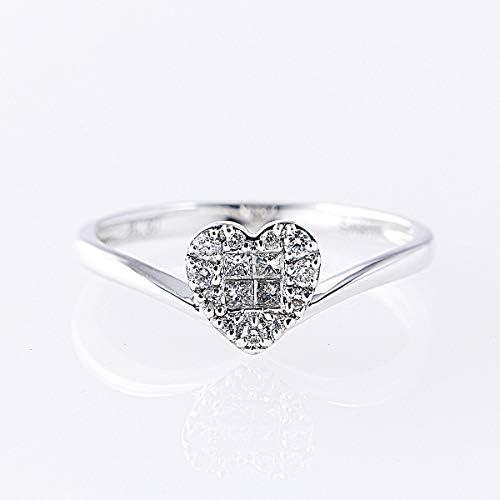 [GEMHOUSE彩]インビジブルセッティングダイヤモンドリング 計0.19ctUP[K18WG] 13号 ハート 専用ケース付