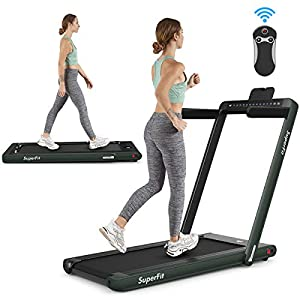 Goplus 2 in 1 Folding Treadmill with Dual Display, 2.25HP Under Desk Electric Pad Treadmill, Installation-Free…