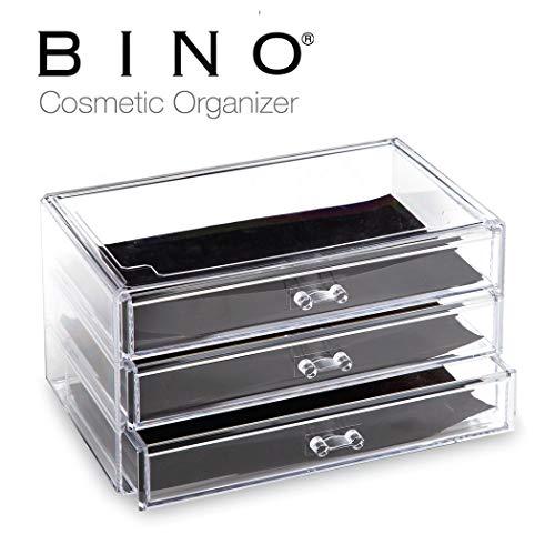 BINO 3 Drawer Acrylic Jewelry and Makeup Organizer, Clear Cosmetic Organizer Vanity Storage Display Box Make Up Organizers and Storage Makeup Stand (Acrylic Drawers Large)