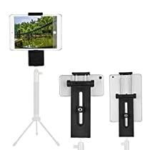 Tripod Mount Adapter Universal Tablet Clamp Holder (3.5-13 Inch Adjustable width), Moreslan 4 in 1 Multi-angle Extendable Tablet Tripod with Two 1/4 Screw Threads for Phones, iPad Pro/Air/Mini, Tripod, Monopod, Self Stick