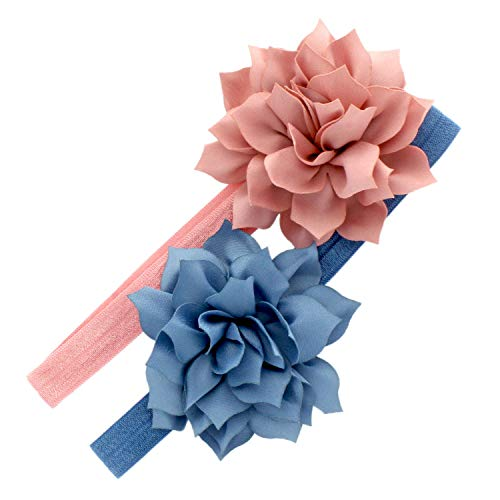 My Lello Baby Petal Flower Headbands Mixed Colors 2-Pack (Dusty Rose/Faded Blue)