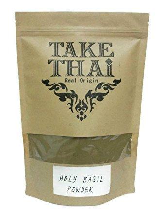 Take Thai Real Origin : Holy basil Powder, 100% Pure(Tulasi,Tulsi,Ocimum tenuiflorum) (100 Grams)