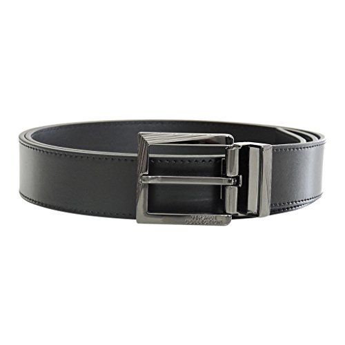 Leather Pebbled Buckle Belt (Versace Collection Men's Black Leather Silver Buckle Adjustable Belt)