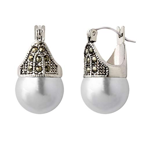 Big Faux Pearl - Linda Schnoll Hematite and Ball Hinged Pierced Earrings - White Faux Pearl
