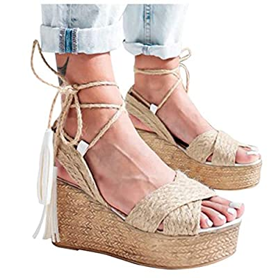 Gibobby Womens Espadrilles Sandals Wedge,Women's Platform Sandals Espadrille Wedge Ankle Strap Studded Open-Toe Sandals: Clothing
